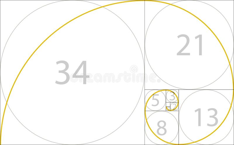 Golden ratio geometric concept. Fibonacci spiral. Vector illustration.  stock illustration