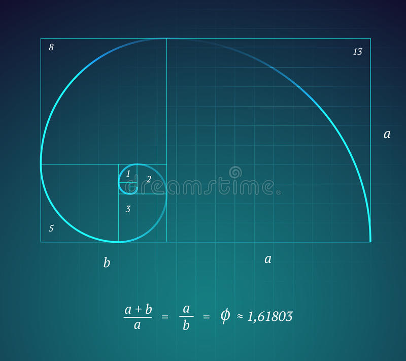 Golden Ratio. A Glowing Scheme of the Golden Ratio on Dark Blue Background with a Mathematical Formula stock illustration