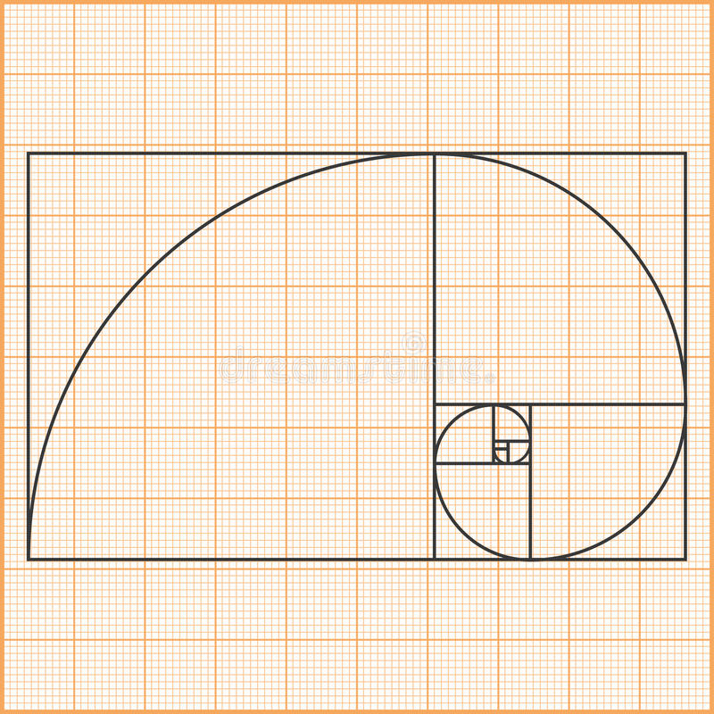 Golden Ratio. Graph paper with golden ratio stock illustration