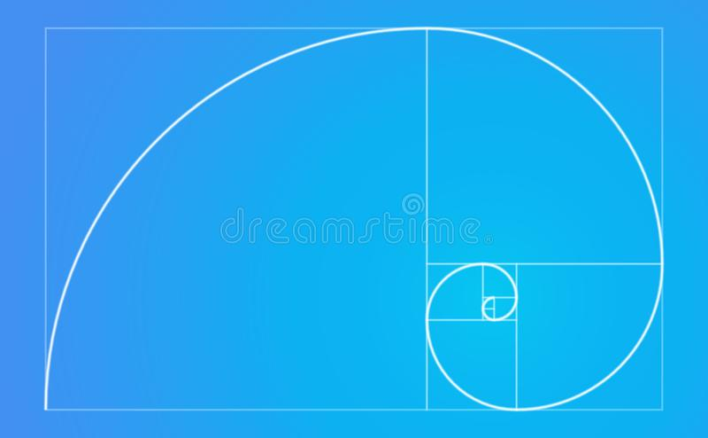 Golden ratio spiral fibonacci sequence. White neon color golden ratio spiral in blue background, vector graphic artwork design element stock illustration