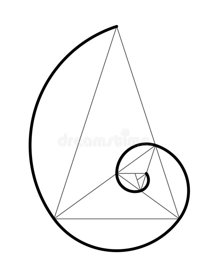 Golden ratio. Cover template. Golden ratio. Spiral of golden section on a triangle. Scalable vector illustration of spiral with golden ratio. Vector icon royalty free illustration