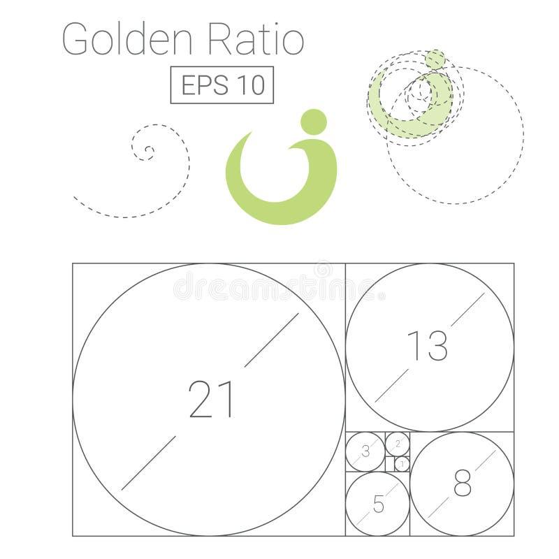 Golden ratio template logo vector illustration. Fibonacci royalty free illustration