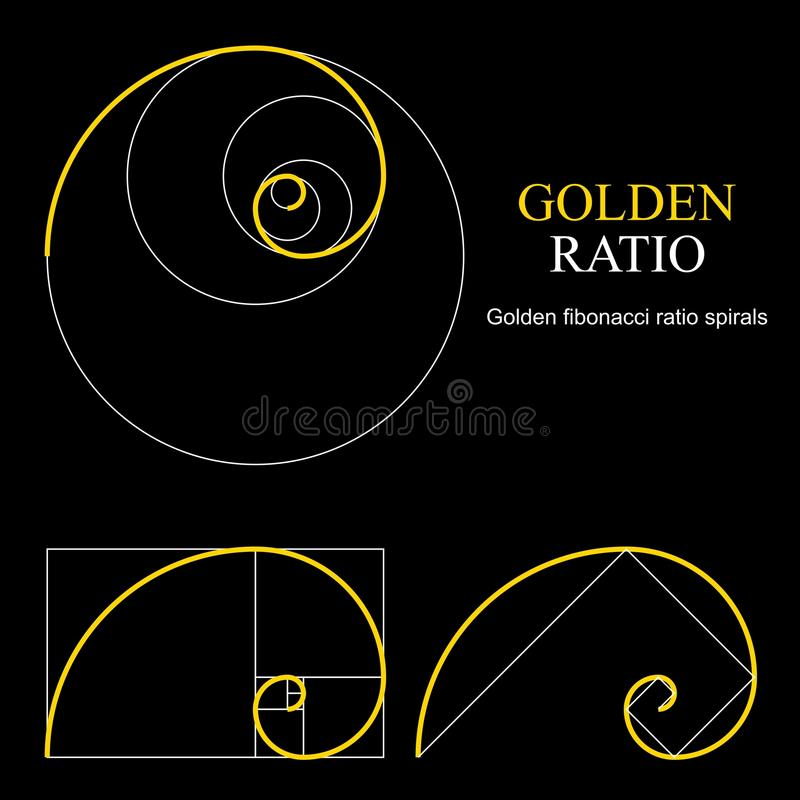 Golden ratio template set. Proportion symbol. Graphic Design element. Golden section spiral. royalty free illustration