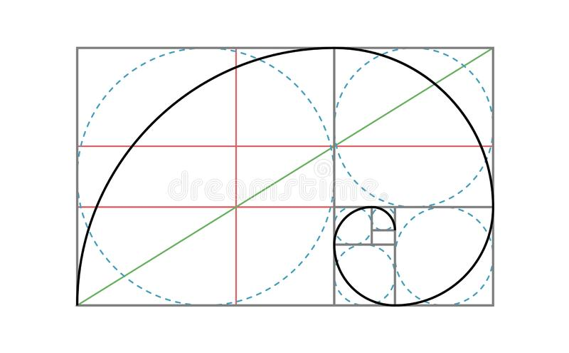 Golden Ratio Vector Design Template. Fibonacci golden ratio composition rule template vector illustration
