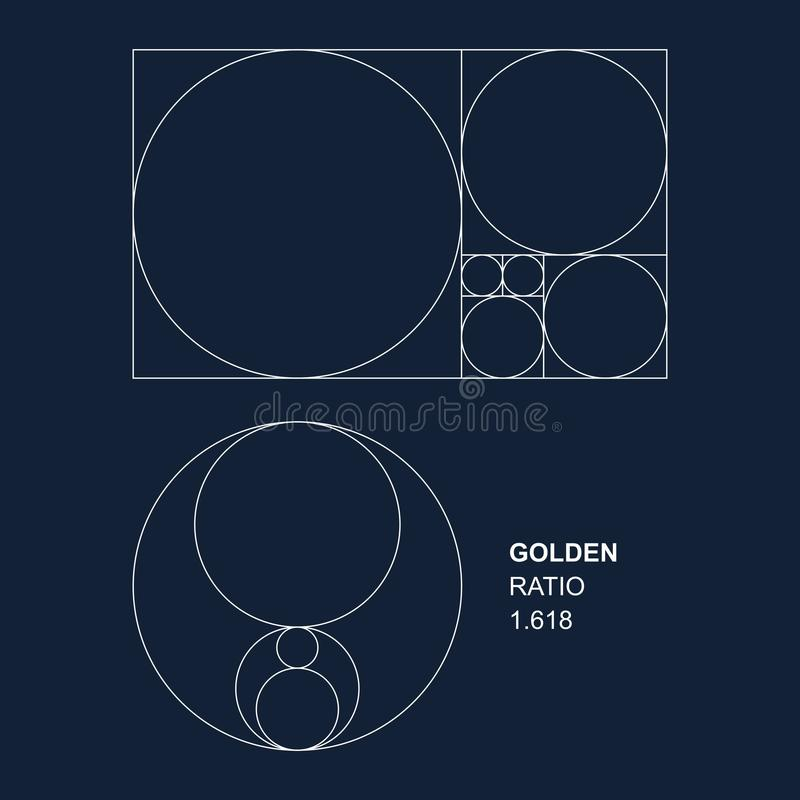 Golden ratio vector elements for designers. Vector golden ratio 1.618 squares and circles for graphic designers. High quality editable and scalable eps file vector illustration