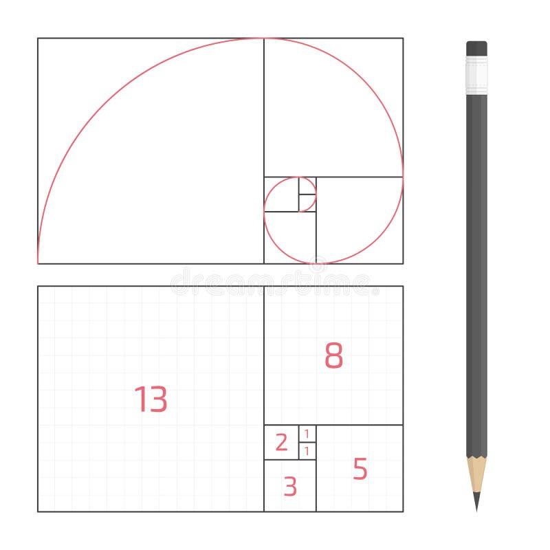 Golden ratio vector. Golden ratio template. The principle of construction golden proportion. Vector illustration EPS 10 stock illustration