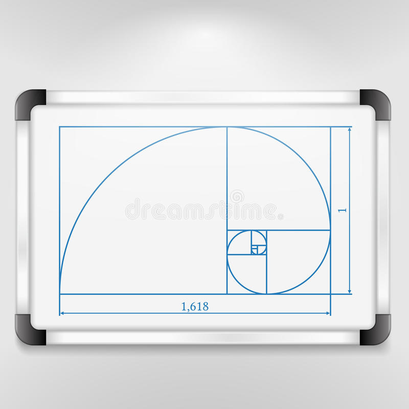 Golden Ratio. Whiteboard with illustration of golden ratio stock illustration
