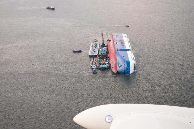 Golden Ray, Capsized in St Simons Sound stock photo