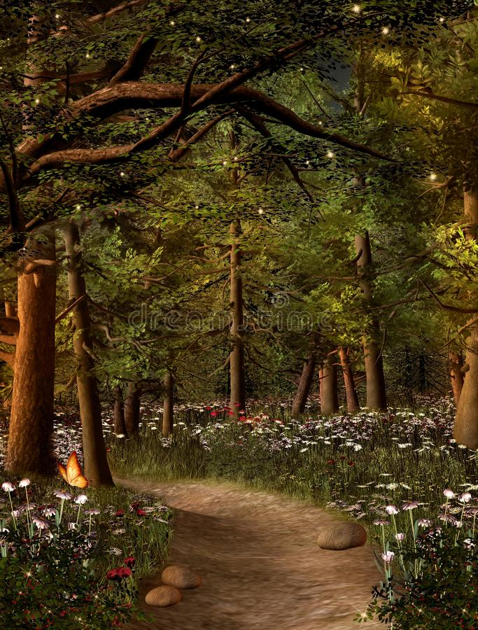 Golden rays inside the enchanted woodland. Enchanted nature series - Golden rays along a walking path taking to the magic forest – 3D illustration stock illustration