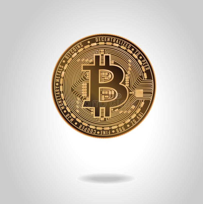 Golden realistic coin with bitcoin symbol. Stock vector illustration. royalty free stock image