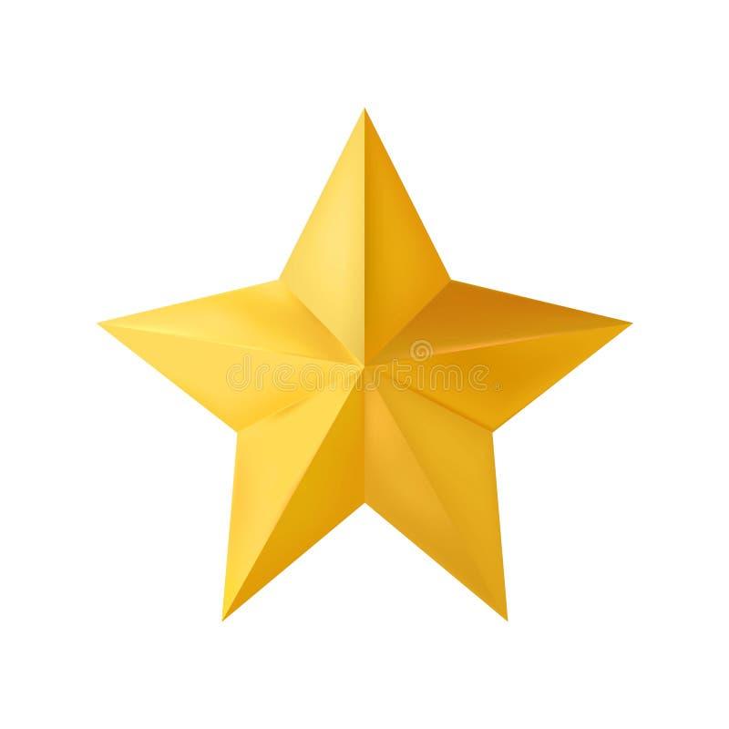 Golden realistic 3D Christmas star isolated on white background. Vector illustration. Eps 10 vector illustration