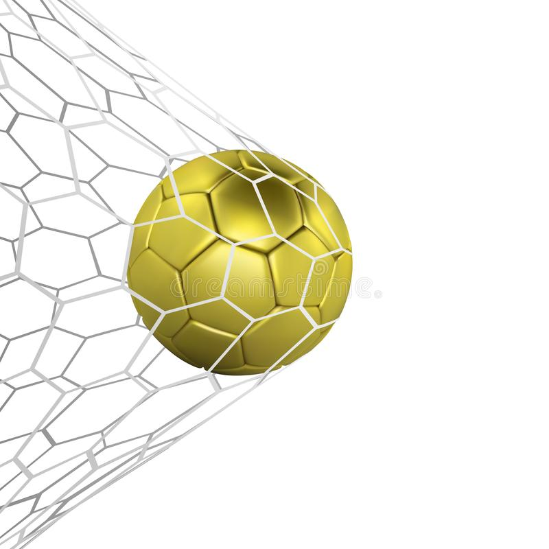 Golden Realistic soccer ball or football ball in net isilated on white background. 3d Style Ball. Football game matc. H goal moment stock illustration