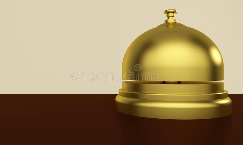 Golden reception bell on a table in a hotel. 3d rendering vector illustration