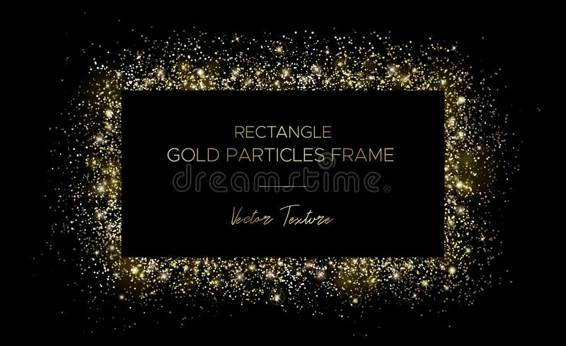 Golden rectangle. Frame of gold particles and text royalty free illustration