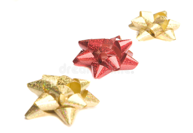 Golden And Red Bow Royalty Free Stock Photography