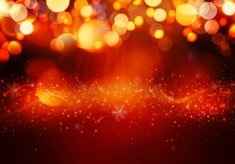 Golden red Christmas or New Year background with glitter, snowflakes, stars, bokeh gold lights on the festive gradient background stock image