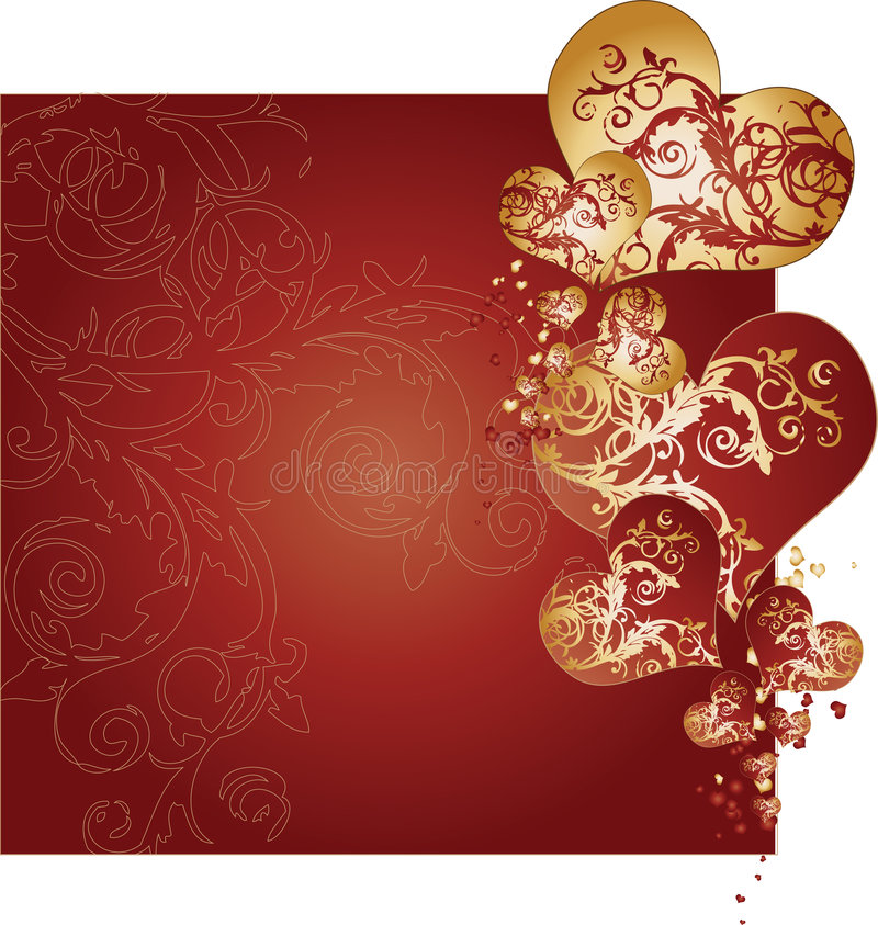 Download Golden And Red Hearts Background Vector Stock Vector - Image: 8035901