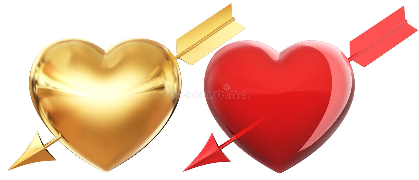 Golden and red hearts. Pierced by arrow royalty free illustration