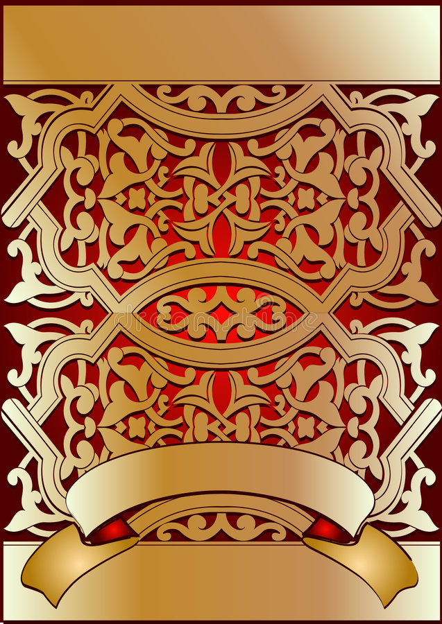 Download Golden On Red Ornate Banner Stock Photography - Image: 4070382