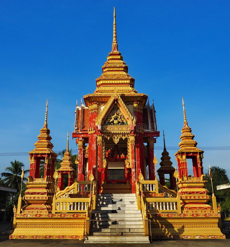 Golden and red pavilion at Thai temple royalty free stock image