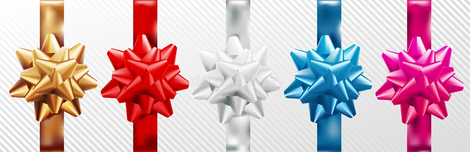 Golden, red, silver, blue, pink gift bow set with vertical ribbon. Isolated on white background. Vector illustration stock illustration