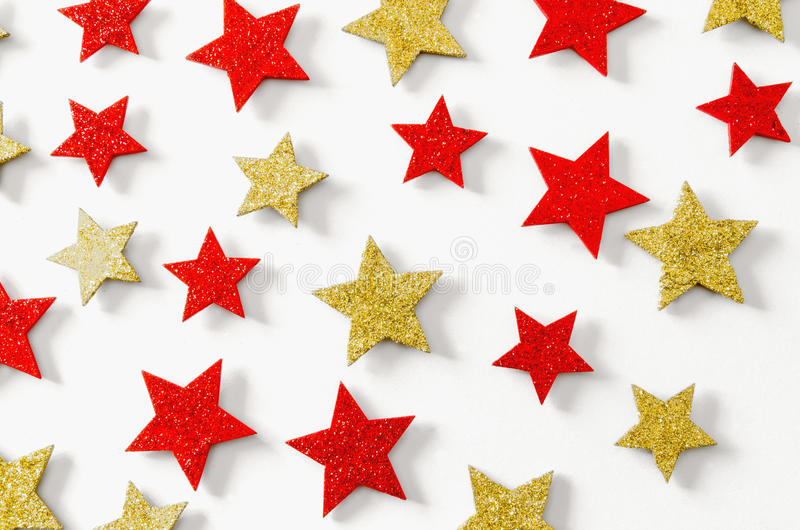 Golden and red stars xmas background royalty free stock photos