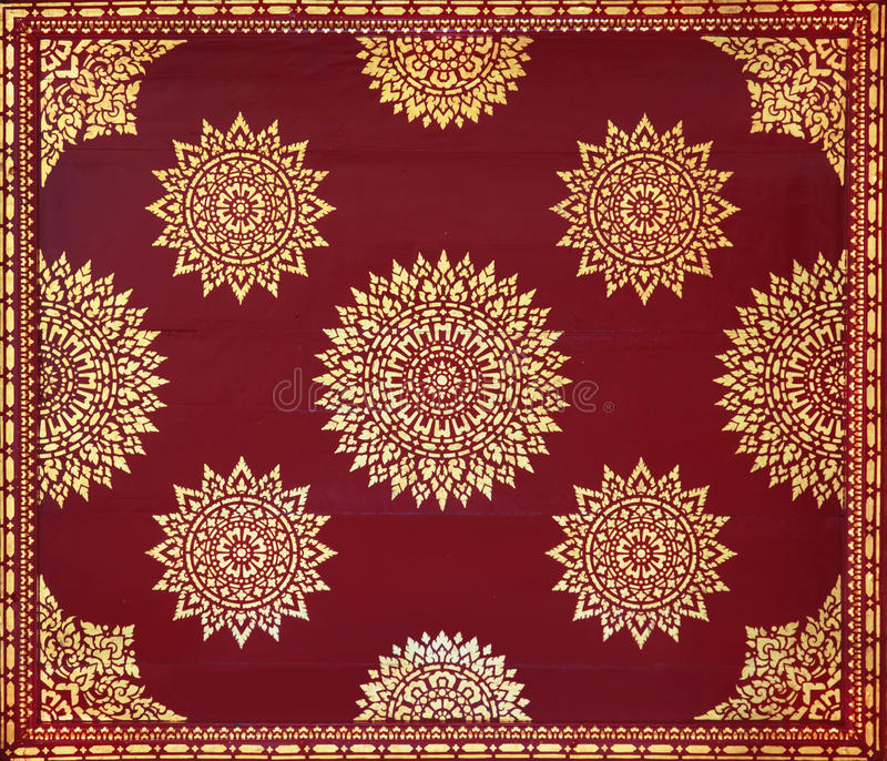 Golden on red thai painting wallpaper. Buddha temple wall and ceiling decoration stock illustration
