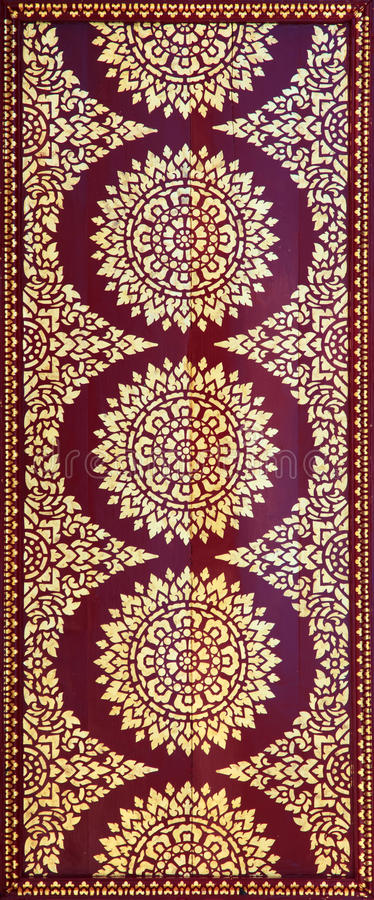 Golden on red thai painting wallpaper. Buddha temple wall and ceiling decoration vector illustration