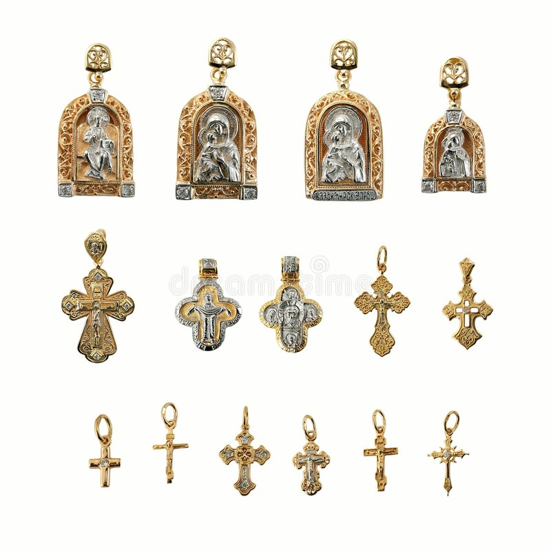 Golden religion jewelry. On white background stock photo