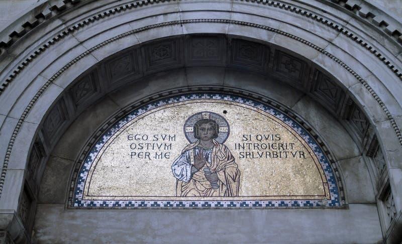 Golden religious mosaic royalty free stock photo