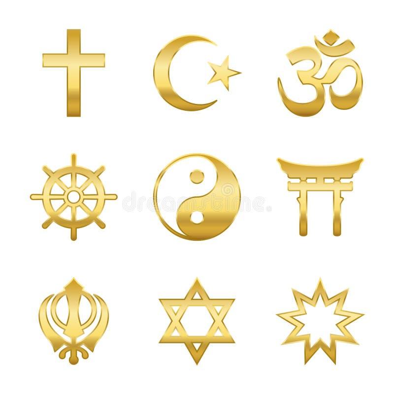 Golden Religious Symbols. Golden world religion symbols. Signs of major religious groups and religions. Christianity, Islam, Hinduism, Buddhism, Taoism, Shinto stock illustration