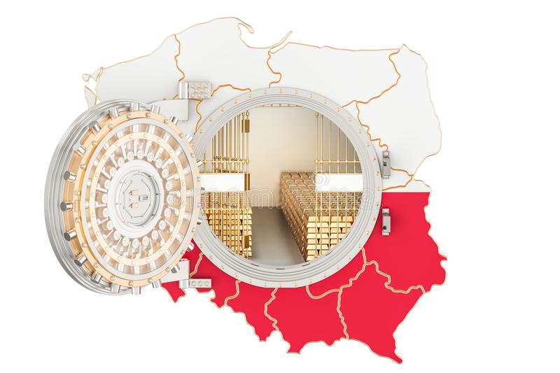 Golden reserves of Poland concept, banking vault with gold bars. royalty free illustration