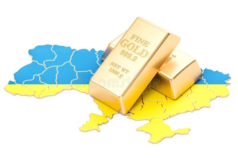 Golden reserves of Ukraine concept, 3D rendering stock illustration