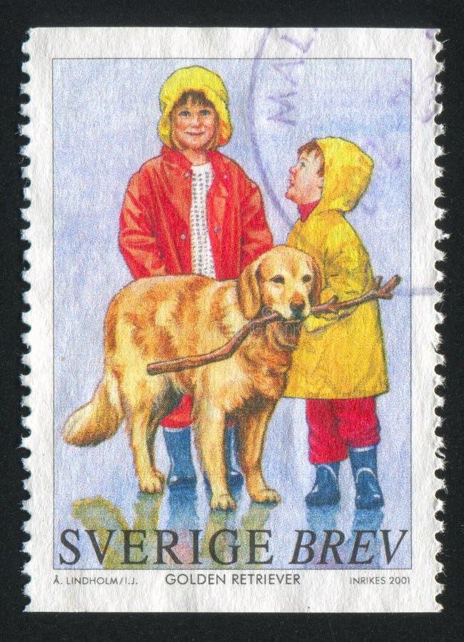 Golden retriever en kinderen royalty-vrije stock afbeeldingen