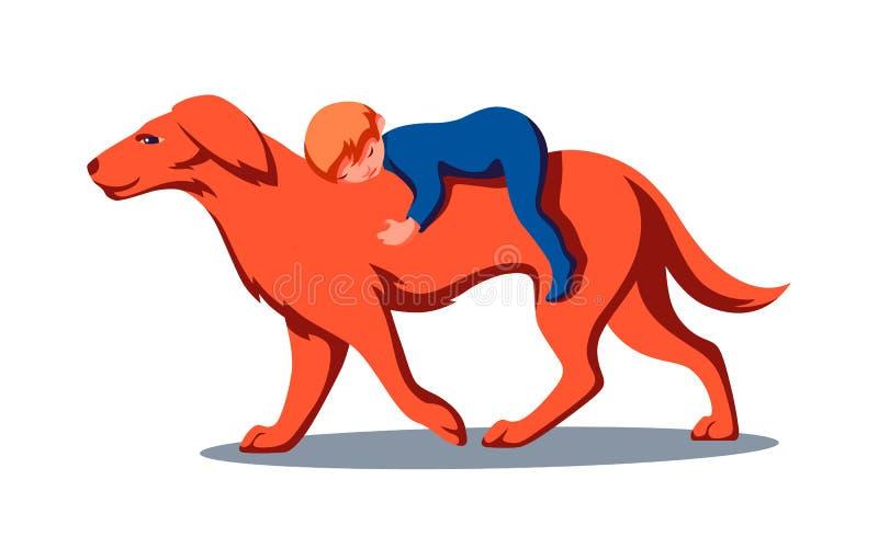 Golden retriever pies z chłopiec na plecy Zwierzę domowe dba dla dziecka jako ochroniarz Wektorowy nowożytny mieszkanie żartuje i royalty ilustracja
