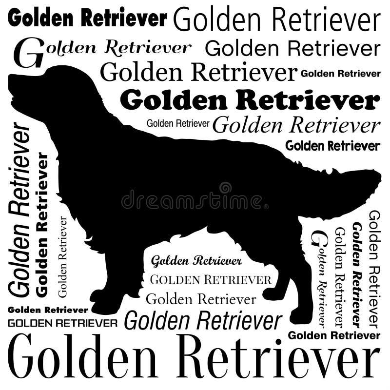 Golden retriever-Schattenbild-Vektor lizenzfreie abbildung