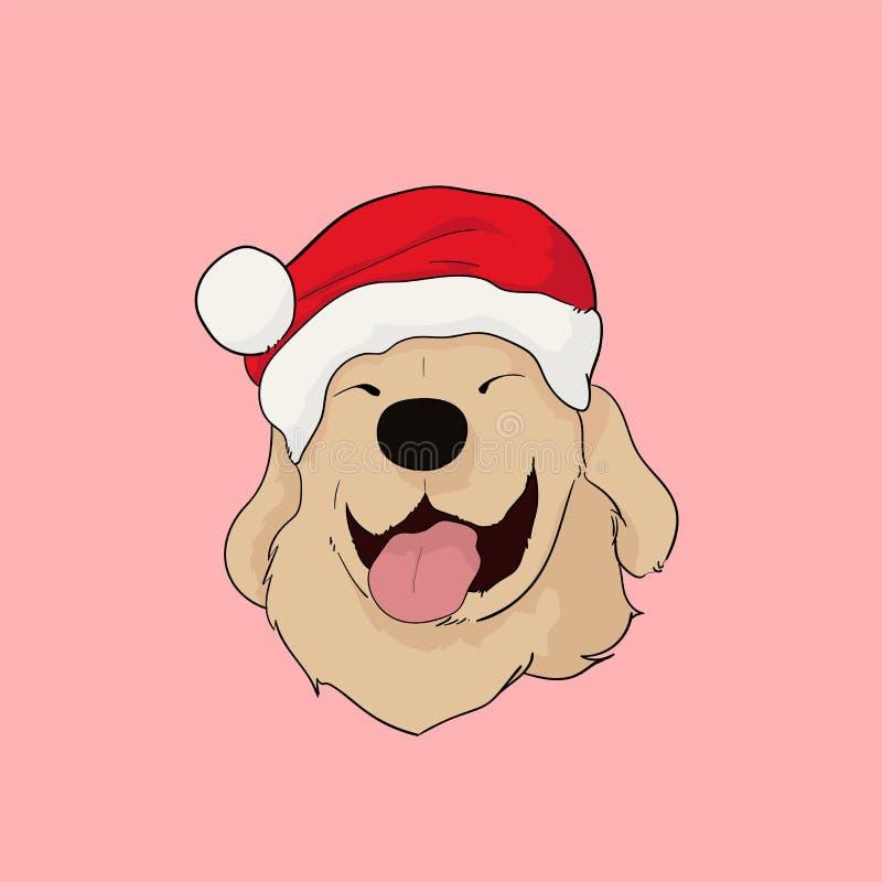 Golden retrieverhond met Kerstmanhoed in Kerstmis stock illustratie