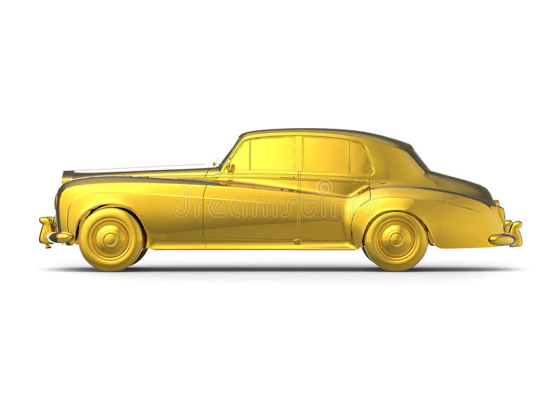 Golden retro car. 3D render image representing an golden retro car vector illustration