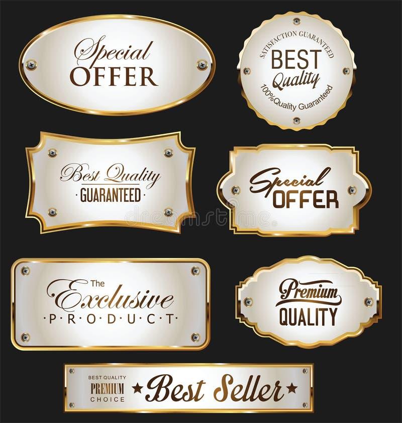 Vintage Golden Frames And Labels Set . Stock Illustration