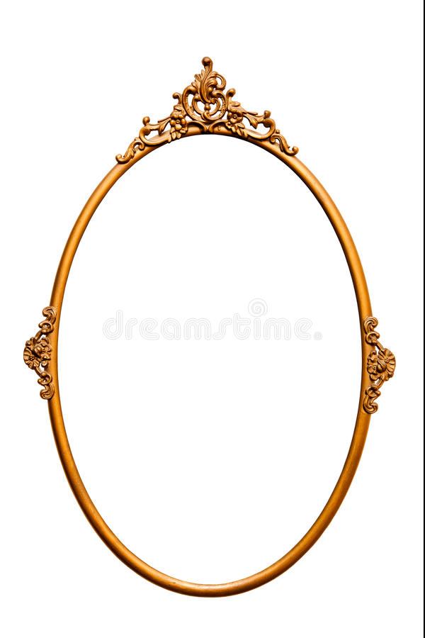 Golden retro mirror frame,isolated on white (No#5). Golden retro mirror frame, isolated on white (detailed clipping paths included, using pen tool at 200-300% stock photos