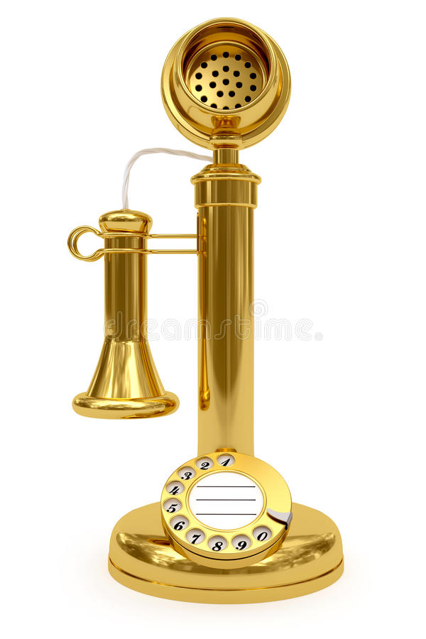 Golden retro-styled telephone on white stock illustration