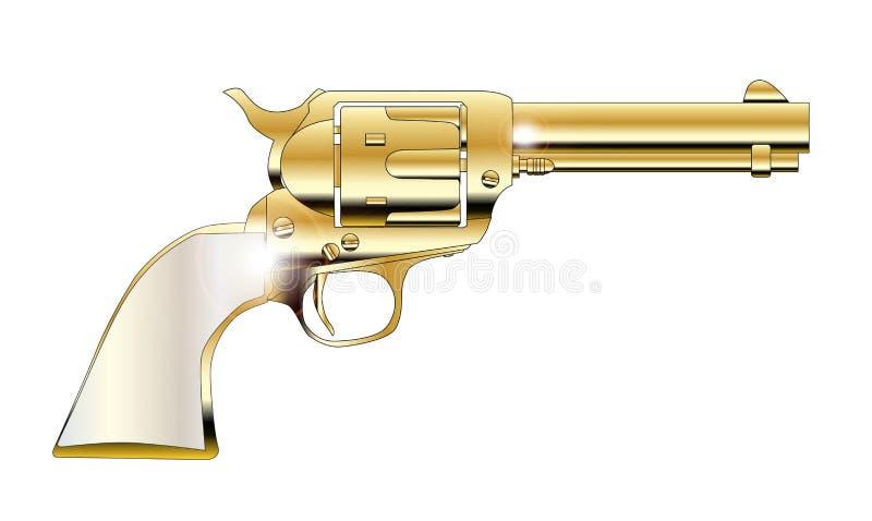 A Golden Revolver. Pear handles revolver in gold over white stock illustration