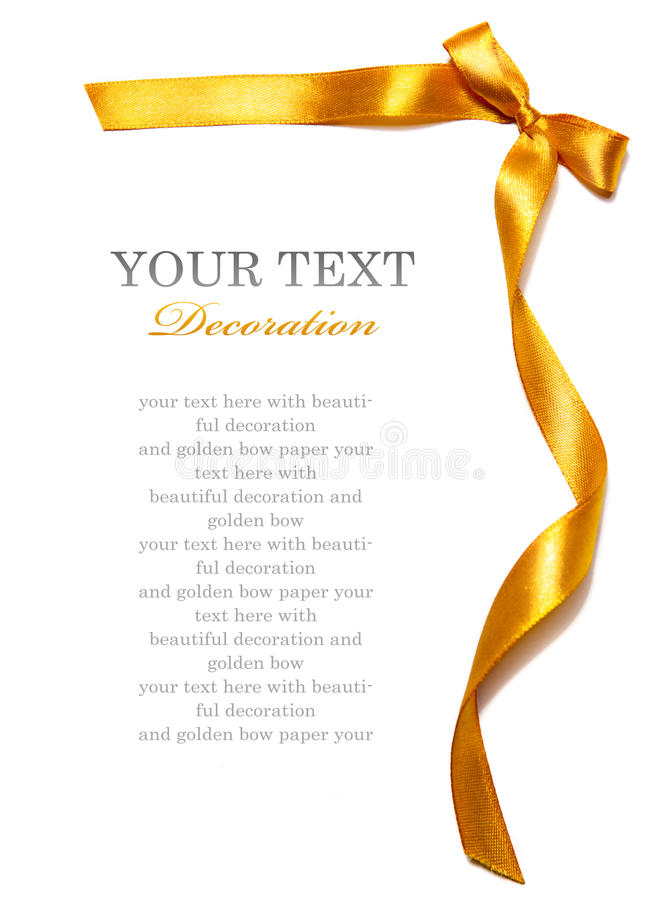 Golden ribbon. With bow on white background stock photography