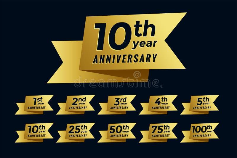 Golden ribbon anniversary emblem set vector illustration