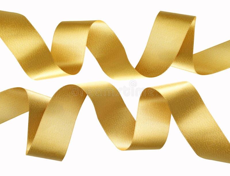 Golden ribbon border isolated on white. stock image