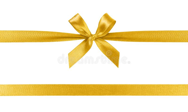 Golden ribbon with bow isolated on white background. Beautiful golden ribbon with bow isolated on white background royalty free stock photography