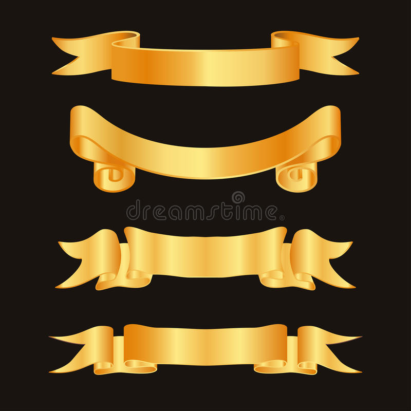 Golden ribbon decoration elements. Ribbons horizontal label template set. Vector illustration stock illustration