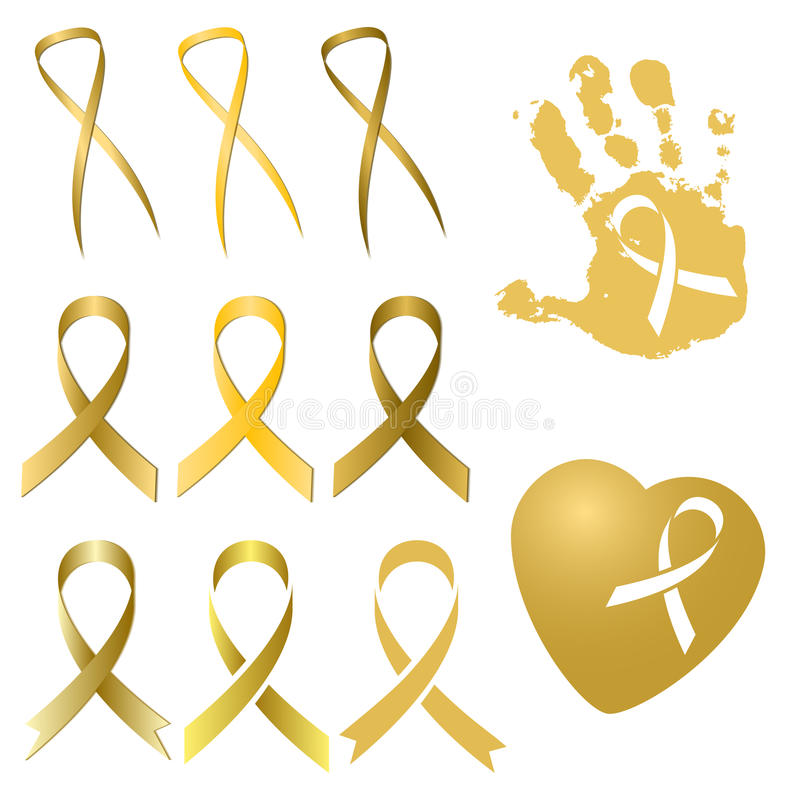 Golden ribbon in different versions. Childhood Cancer Day. Set of golden ribbon in several different versions and tints of gold on white. International Childhood royalty free illustration