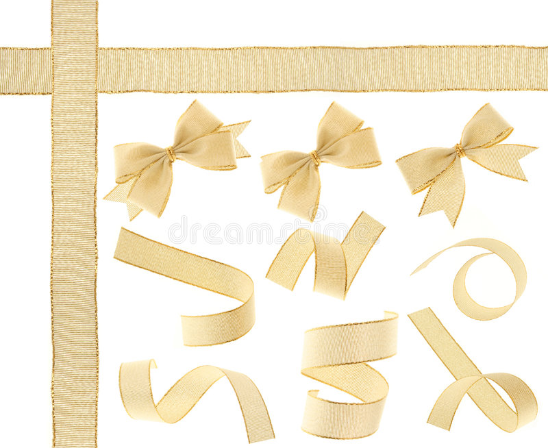 Golden Ribbon (Isolated) Royalty Free Stock Photos