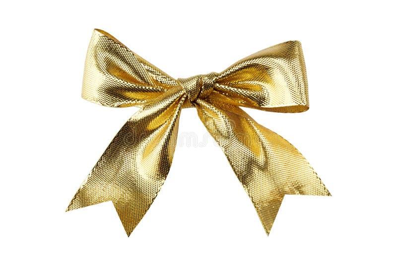 Golden ribbon. Isolated on white background stock photo